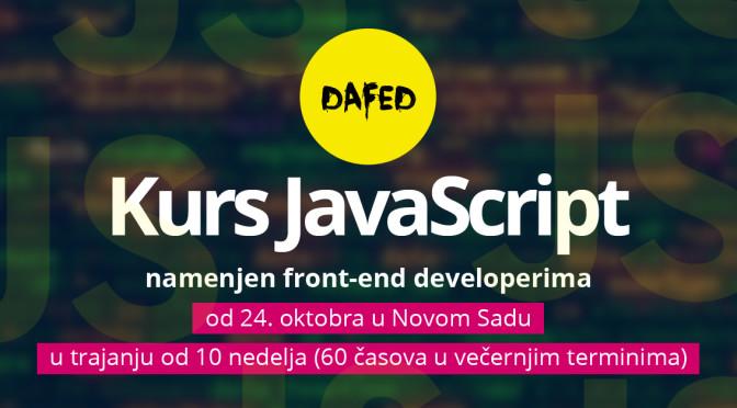 DaFED pokreće kurs JavaScript u Novom Sadu namenjen front-end developerima