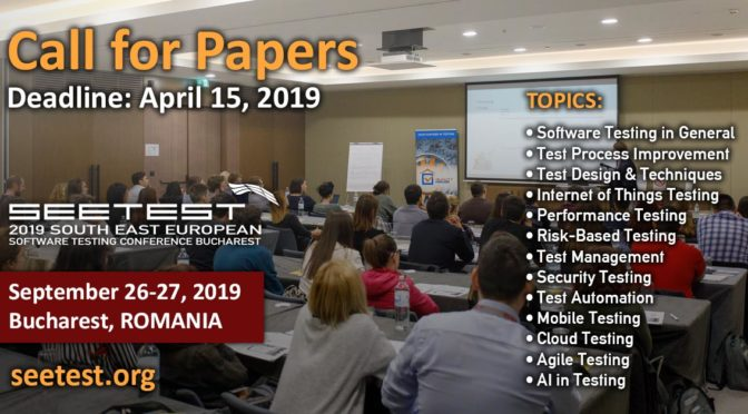 Call for Papers SEETEST 2019!